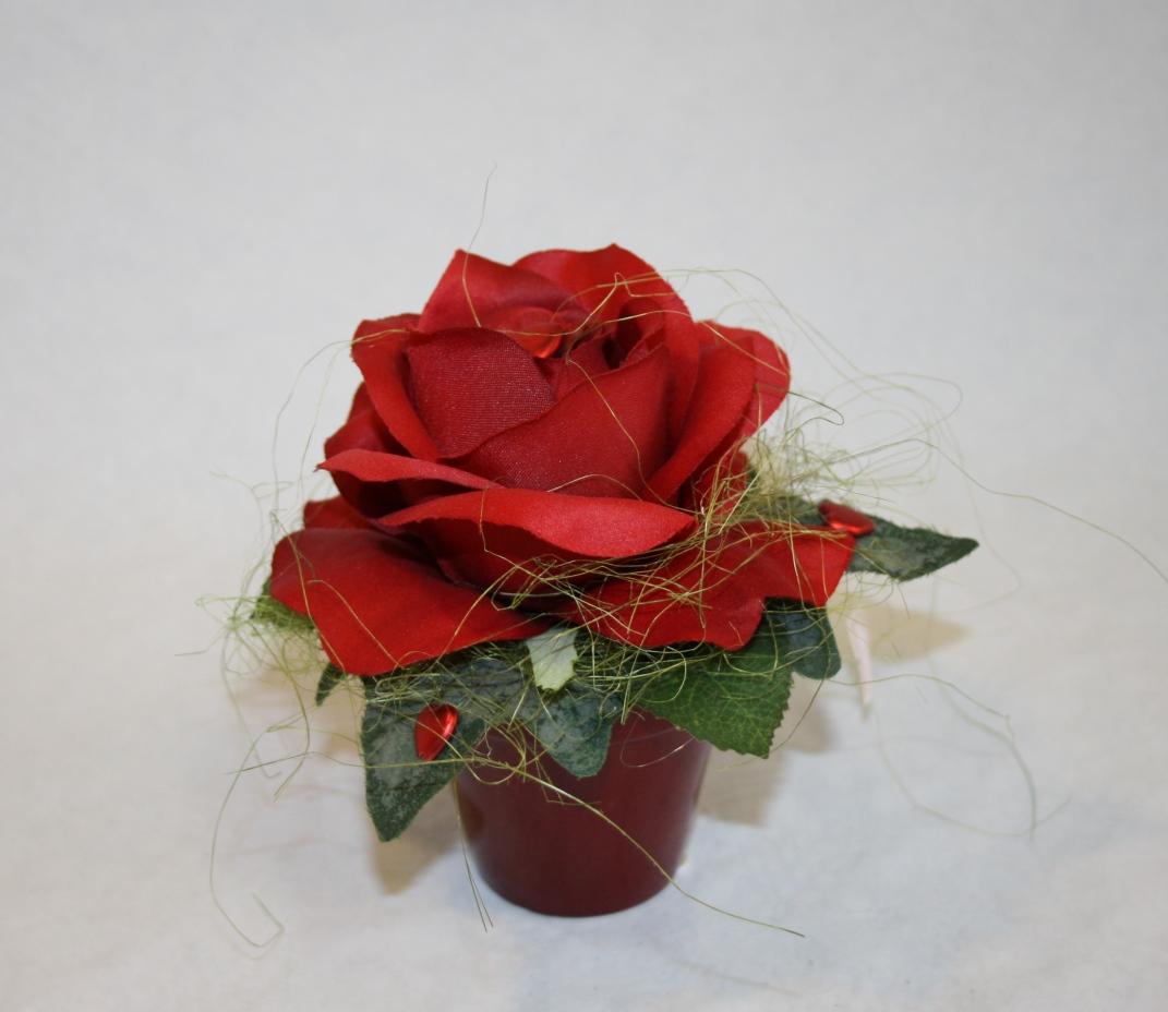 kleiner topf rote rose topf rote rose tischdeko. Black Bedroom Furniture Sets. Home Design Ideas