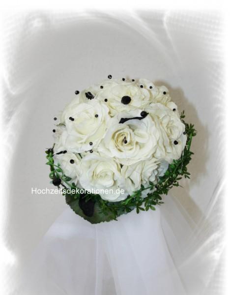 Brautstrauss weiß-schwarz