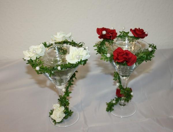 Glasdeko teelicht und rosen