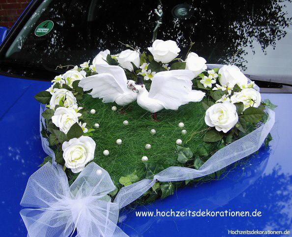 Autoherz Hochzeit tauben