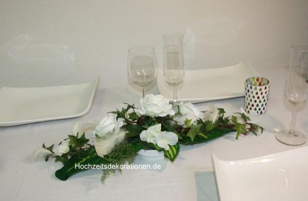 Gesteck Hochzeit Federn
