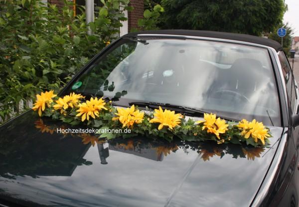 autoschmuck hochzeit sonnenblume