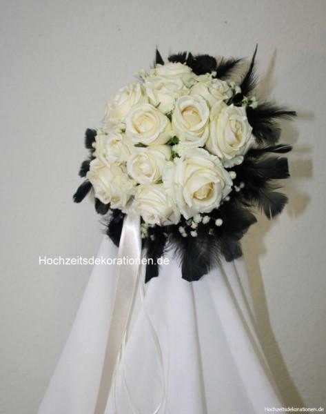 Brautstrauss rosen federn schwarz
