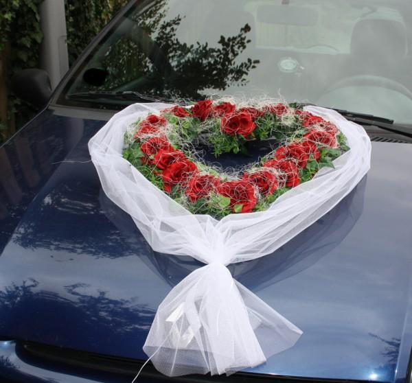 Autoherz Hochzeit tüll