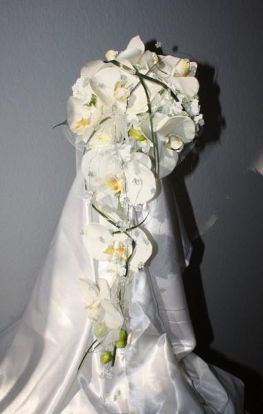 brautstrauss orchidee mit tuell hochzeitsdekorationen. Black Bedroom Furniture Sets. Home Design Ideas