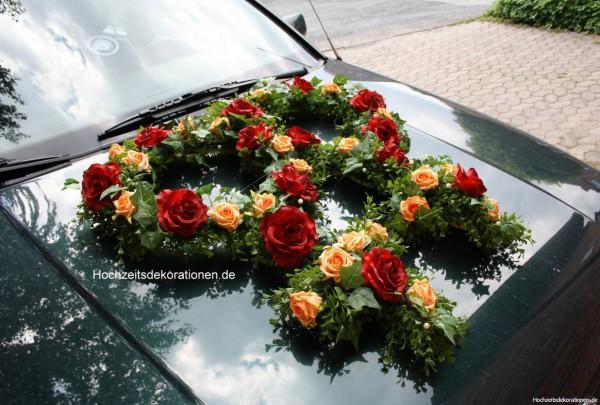Autoschmuck Frauenhochzeit rot apricot