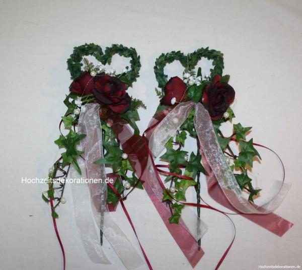 Bankdeko Hochzeit buchsherz