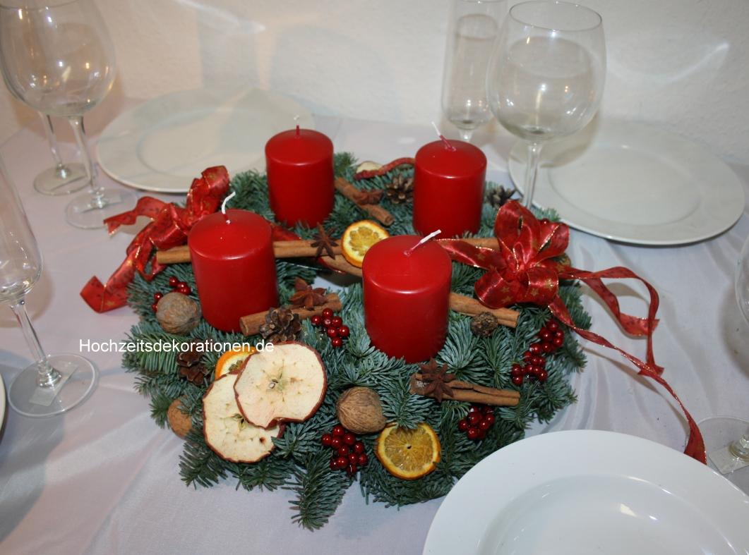 Adventskranz frisch zimt rot hochzeitsdekorationen for Adventskranz bestellen