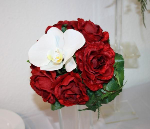 Wurfstrauss Rosen mit Orchidee