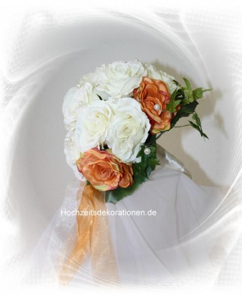 Brautstrauss Rosenkugel zweifarbig