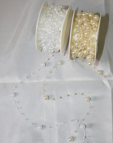 Perlenband hochzeit weiss und creme