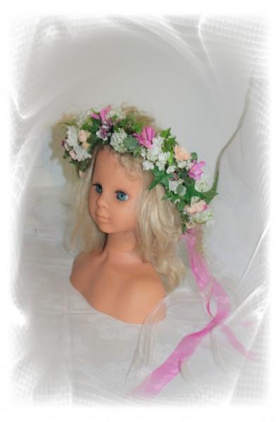 Haarkranz sommerhochzeit pink