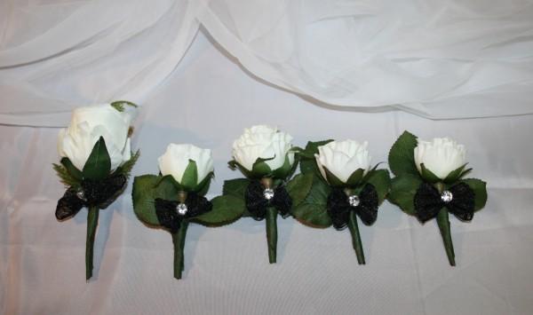 Anstecker Hochzeit schwarz weiß