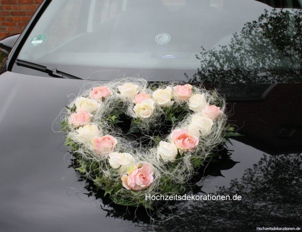 Autoherz Rosen im Sisal rosa-creme