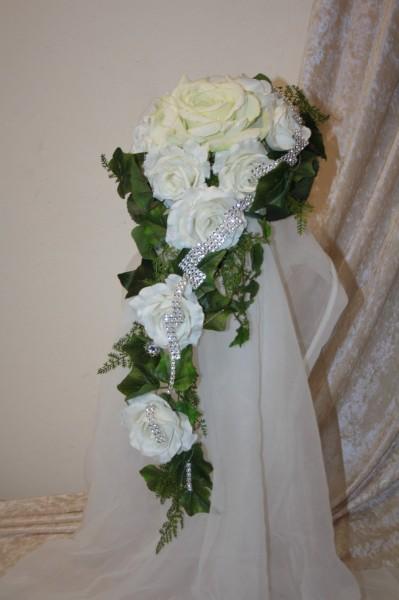 Brautstrauss mit Strass creme-weiß